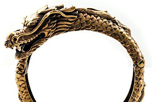 Windalf Unisex Vintage Drachen Armreif BRÁIN Ø 6.2 cm Hobbitschmuck Glücksamulett Elfenschmuck Bohemia Armschmuck Hochwertige Bronze