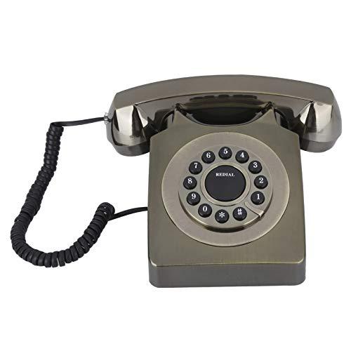 TeléFono Antiguo, TeléFono con Cable DoméStico Retro Europeo, TeléFono HD, BotóN Transparente Grande, TeléFono Fijo Antiguo, DecoracióN De La Oficina En Casa(Bronce)