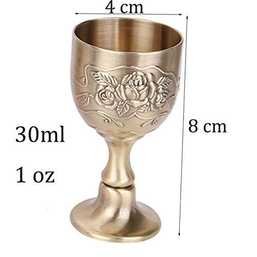 Ltong Wine Cup Shotglas Likeurbeker 100ml 30ml Handgemaakt Vintage Puur kopergravure Bloempatroon Kelk voor drinkwater, 30 ml