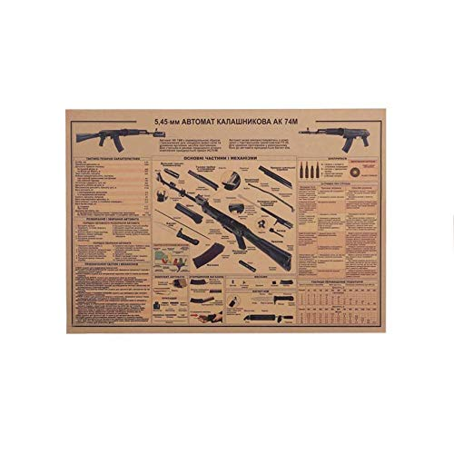 Mytao L'Ak74 Gun Affiche Vintage Kraft Papier Affiche Mur Autocollant Collection Bars Cuisine Dessins Affiche Ornement