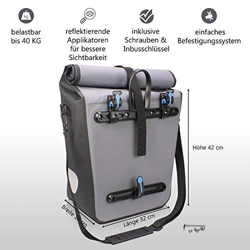 Mozione® Hinterradtasche – Universell passende Fahrradtasche mit bis zu 30l Stauraum – leichte Montage am Gepäckträger Dank mitgeliefertem Zubehör – wasserdichte Gepäckträgertasche mit Reflektoren - 4