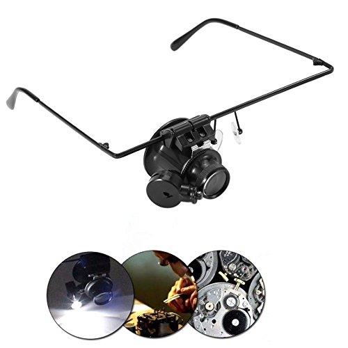 LED Brillenlupe, Stirnbandlupe mit LED-Licht 20-fache Vergrößerung Einzelne Brillenlupe für Hobby, Denest, Elektriker, Juweliere, Nähen, Handwerk, und ältere Menschen