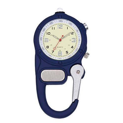LOVIVER Clip-On Karabiner Taschenuhr mit Taschenlampe für Ärzte Krankenschwestern Sanitäter Köche - Blau