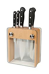Mercer culinary genesis 6-Piece Kitchen Knife Set with a wooden and glass block