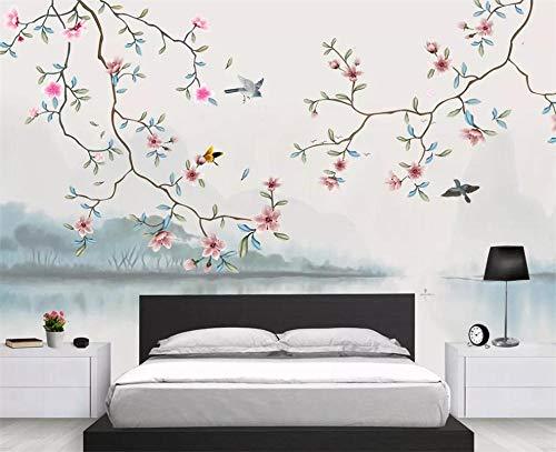 Pink world Wandbild Landschaft handgemalte Blumen und Vögel Wohnzimmer Schlafzimmer Hintergrund Wand dekorative Malerei Wandbild-Über 400 * 280 cm