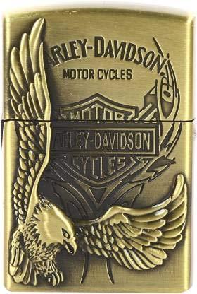 REDSHELL Harley-Davidson Eagle Print Windproof Refillable Butane Gas Flame Pocket Lighter (Gold)