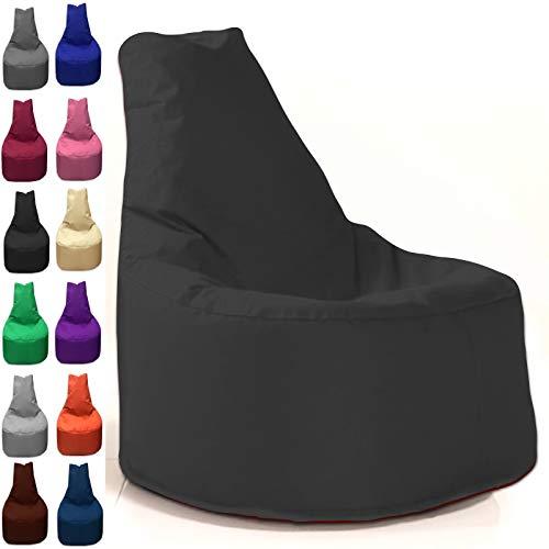 Sitzbag Sitzsack Sessel XL - XXL für Kinder und Erwachsene - In & Outdoor Sitzsäcke Kissen Sofa Hocker Sitzkissen Bodenkissen (XL - 68cm Durchmesser, Schwarz)