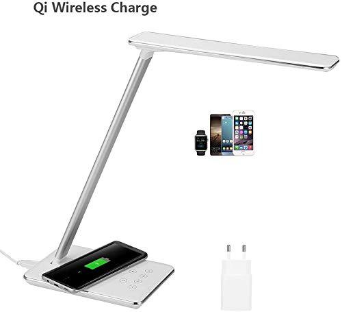 AGM Lampe de Bureau, Base de Chargeur Sans-fil Qi, 4 Modes d'Eclairage, 7 Niveaux de Luminosité, Contrôle Tactile, Fonction de Minuterie, USB Port, Adapteur AC, LED Lampe Pliante pour Chambre