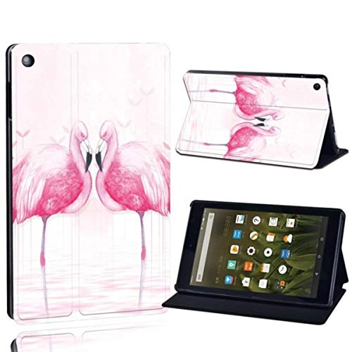 for Amazon Fire 7 5/7/9th Fire HD 8 10 Printed Leather Tablet Stand Folio Cover-Ultra-Thin Flamingo Tablet Stand Case,flamingo025,Fire HD 10