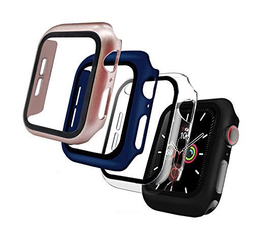 Iuveruln 4 Pezzi Cover Apple Watch Series 6/SE/5/4, Custodia Protettore Schermo per Apple Watch 40mm(Nero, Trasparente, Oro Rosa, Blu)
