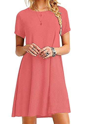 OMZIN Damen Langes Shirtkleid Tops Einfärbig Shirtkleid Kurzarm Shirt Casual Tunika Sommerkleid,Koralle,XXL