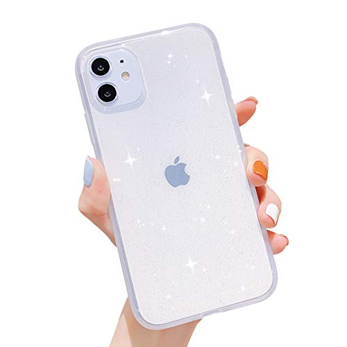 iPhone 11 Case Bling,Anynve Clear Glitter Sparkle Case for Women [Anti-Shock Matte Edge Bumper Design] Cute Slim Soft Silicone Gel Phone Case Compatible for Apple iPhone 11 6.1''-Clear