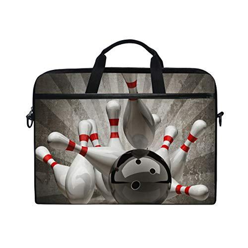 iRoad Canvas Laptoptasche Vintage Sport Bowling Ball Laptop Tasche Case mit Schultergurt Computer Tasche für Damen Herren Business 14-15 Zoll