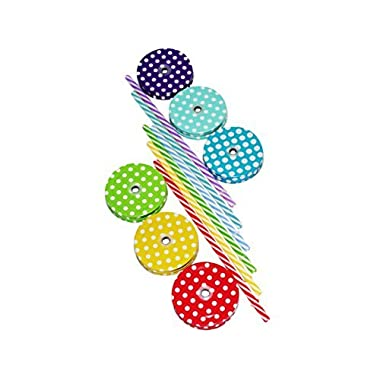Amazing Set Of 6 Lids & 6 Straws For Regular Mouth Mason Jar Glasses, 6-Pack Decorative Colored Polka-Dot Metal Lid With Straw Holes & Striped Plastic Straw Set (Mixed)