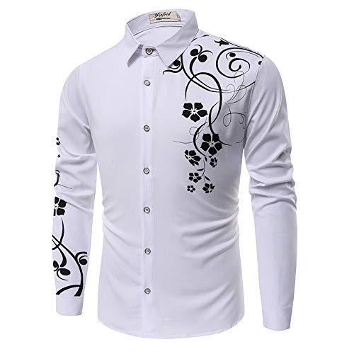 Camisas de Manga Larga para Hombre, Estampado Personalizado, Ajustado, cómodo, Transpirable, Primavera y otoño, Camisas Casuales Salvajes Medium