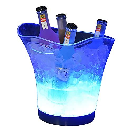 PEIHAN Cubo de Hielo Brillante con luz LED de Colores Bebidas de Vino de champán Cerveza Enfriadores de Hielo para Fiestas de Bar Restaurante KTV, Bebidas de Vino de champán de 7 Colores