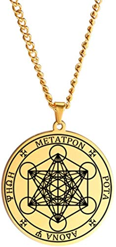 LLJHXZC Collar Arcángel Ángel de la Vida Sello Collar con Colgantes de Salomón para Hombres Collares de joyería de Acero Inoxidable 60cm
