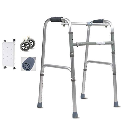 JALAL Leichter Gehrahmen aus Aluminium, zusammenklappbare Gehhilfe, Gehhilfe, wasserdichter Sitz und 2 Räder, dreirädrige Gehhilfen
