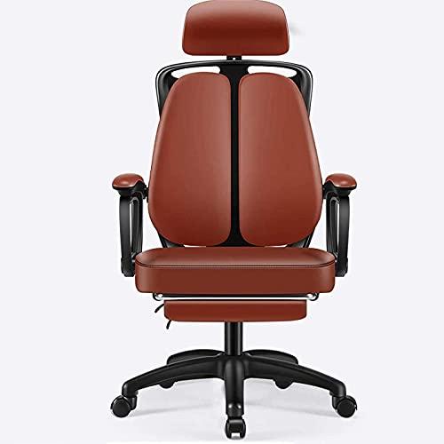 JYHJ Ergonomischer Bürostuhl aus PU-Leder, hohe Rückenlehne, Chefsessel mit verstellbarer Kopfstütze und Fußstütze, Computer-Drehstuhl, Schwarz, 84 x 32 x 59 cm (Farbe: Braun, Größe: 84 x 32 x 59)