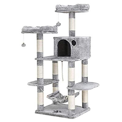 FEANDREA Multi-Level Cat Tree for Big Cats, Stable Cat Tower, Light Gray UPCT85W