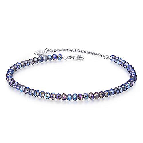 BlingGem Bracelet pour Femme Argent 925/1000 Perles de Cristal Multicolores Bracelet Extensible Cadeau de Bijoux pour Fille