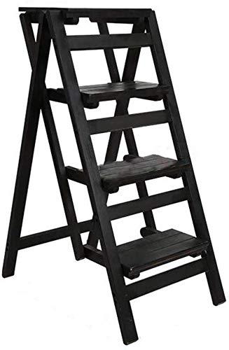 CHGDFQ Escalera de madera maciza para el hogar, plegable, de 4 niveles, de madera, gruesa, multifuncional, para interiores, soporte decorativo (color: D)