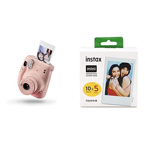 Instax Mini 11 Camera Blush Pink Fujifilm Instax Mini Instant Film 5X 10 Blatt 50 Blatt Weis