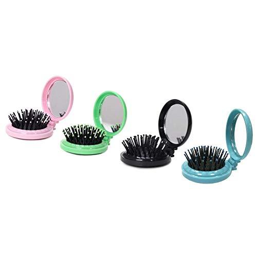 Timagebreze 4 PièCes SéRies Portable Rond en Plastique Poche Pliante Brosse à Cheveux Peigne avec Miroir de Maquillage pour le Voyagela Couleur de Bonbons