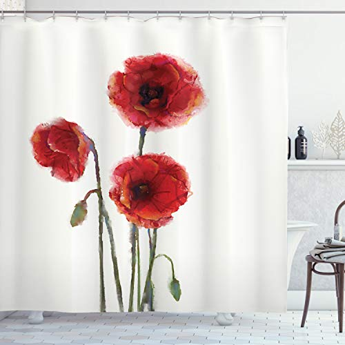Ambesonne Watercolor Flowers Decor Collection, Poppy Flowers Blooms with Watercolor Painting Effect, Polyester Fabric Bathroom Shower Curtain Set with Hooks, 75 Inches Long, White Red Green