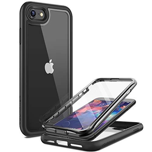 Hülle für iPhone SE 2020 iPhone 8/7 Hülle Militärischer Vollschutz Transparent Kratzfest Schutzhülle mit eingebautem Bildschirmschutz Stoßfeste für iPhone SE 2020 Handyhülle 4,7 Zoll (2020) -schwarz