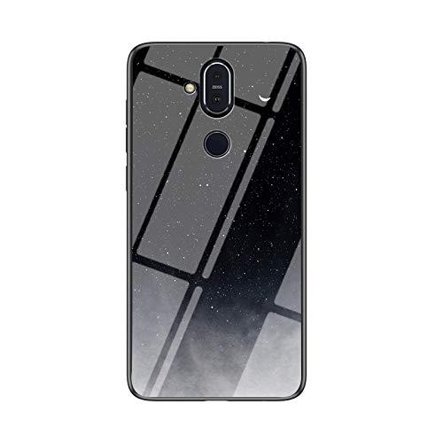 SHIEID Carcasa para Nokia 7.1 Plus,Mármol Vidrio Templado de Case Cover Ultra Fina Silicona Gel Caja Carcasa Antideslizante de Carcasa Blanda para Nokia 7.1 Plus (Luna Luna Creciente)