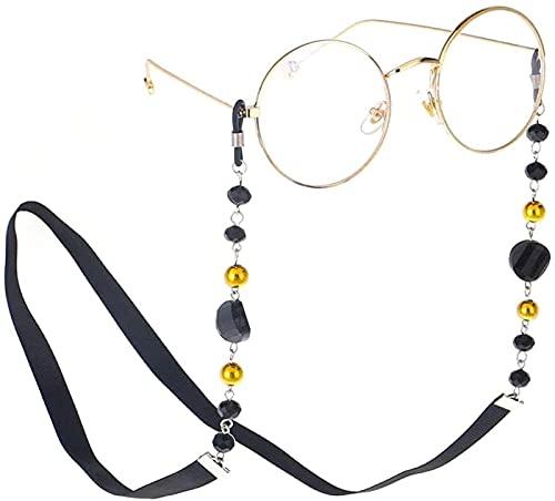 ASDF Mujer Hombre Childern Gafas de Sol Cadena Gafas Cordones Correa para anteojos Cordón para el Cuello Cadena Negro Ideal para anteojos de Lectura Anteojos y Gafas de Sol