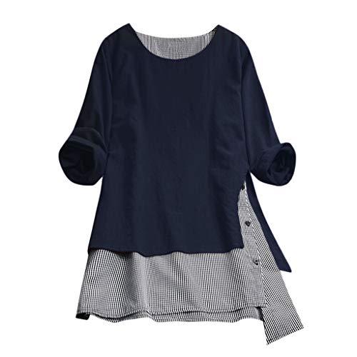 Damen Lässige Knopf Plus Size Splice Baumwolle Tops T-Shirt Gitter lose Bluse