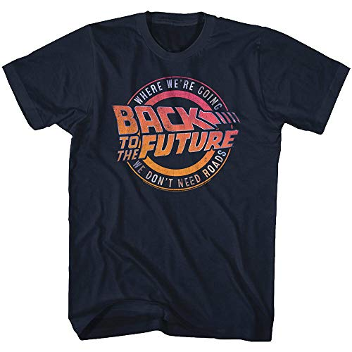 YONG Back To The Future Where We're Going We Don't Need Roads Adult T Shirt Navy BlueM