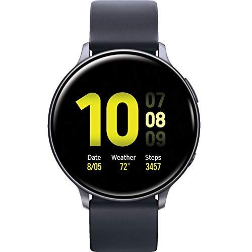 SAMSUNG Galaxy Watch Active2 (Silikonarmband + Aluminium-Lünette) Bluetooth – International (Aqua Black, R820-44 mm)