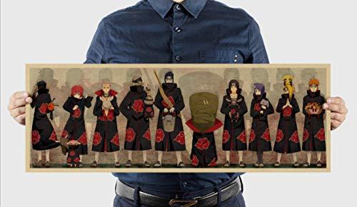 AINSS Retro Anime Naruto Naruto Character Collection Style C Kraft Paper Poster Retro Dormitory Decoración Pintura [51,5 x 36 cm]