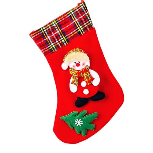 Dacyflowe Classic Red 4 Piezas Chimenea colgado a Cuadros Felpa puños Medias Fieltro Papá Noel, muñeco de Nieve, Reno Navidad calcetín 4 Piezas para decoración del árbol de Navidad
