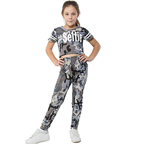 A2Z 4 Kids Girls Tops Kids Designer's Camouflage Print Trendy Crop Top Legging Set 7-13 Yr