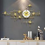 Orologi da Parete Modern Metal Wall Orologio da Parete Dimensioni 100 cm, Art 3D Diamond Ginkgo Leaf Wall Parete Orologio da Parete Stile Europeo Orologio da Parete per Soggiorno (Color : Gold)
