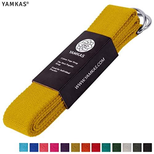 Yamkas Yoga Gurt 100% Bio Baumwolle | 1.8M - 3M Lang | Yogagurt mit Verschluss aus Metall | Yoga Strap Stretch Band | Gelb Grün