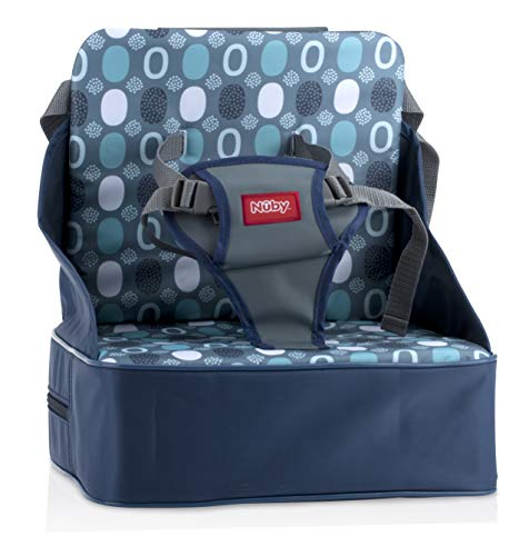 Nuby Easy Go Safety Lightweight High Chair Booster Seat, Great for Travel, Blue