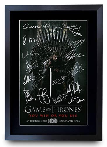HWC Trading Game of Thrones The Cast Gifts gedrucktes Autogramm für TV Fanartikel, A3 gerahmt