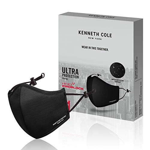 Kenneth Cole BLACK PACK OF 1 Neoprene Water repellent Anti Pollution Anti Heat Anti Dust Mask 6 Layer Reusable Outdoor Face Mask with temprature and moisture control
