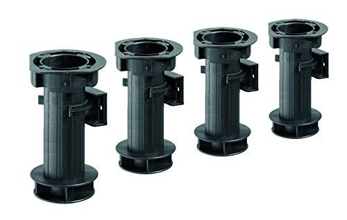 Hettich 9219649 Sockelverstellfuß Set (Möbelfuß) -4 STK, 150-170 mm, max. 200kg, Kunststoff, inkl. Clips, schwarz