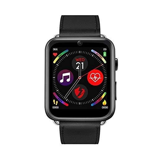 CUISIDIAO 4G Smart Watch Android 7.1 3G RAM 32G ROM 1.88-inch Screen LTE Sim Camera GPS WiFi Heart Rate Male Female (Color : Leather Black, Size : 1G+16G)