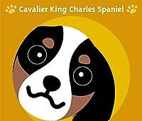 見つめる キャバリア キングチャールズ スパニエル トライカラー 犬 ステッカー オレンジバック MK-2