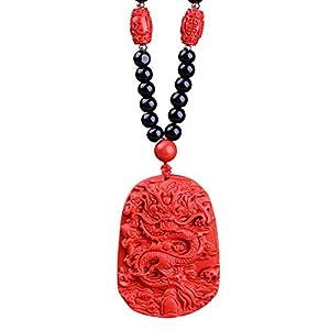 Sinymilk Black Onyx Beads Cinnabar Universal Dragon Pendant Marriage Luck Wedding Lovers' Gift