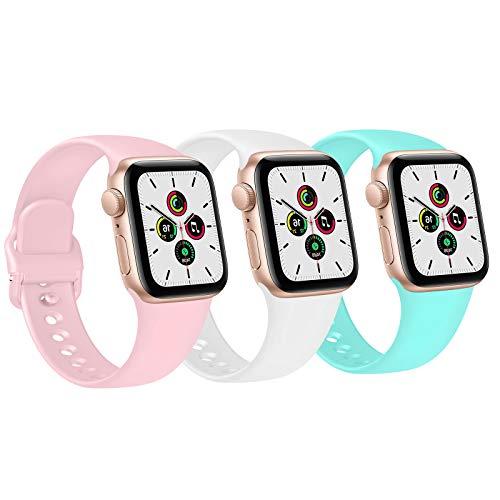 FUUI Correa Compatible con Apple Watch 38mm 42mm 40mm 44mm, Pulseras de Repuesto de Silicona Suave para iWatch Series 6 5 4 3 2 1 SE, Mujer y Hombre(3 Pack)(38mm/40mm S/M, Azul Claro/Blanco/Rosa)