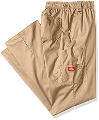 Dickies Men's Big Signature Elastic Waist Scrubs Pant, Dark Khaki, Medium Tall