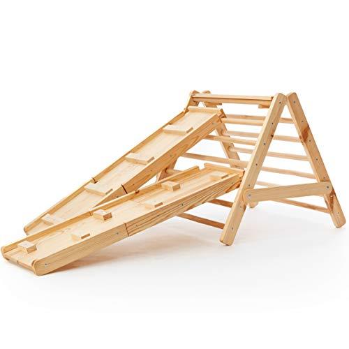Novecrafto Escalera triangular de madera para escalar, centro de actividades de gimnasio interior con escalones, marco triangular estable para niños pequeños (madera maciza grande)